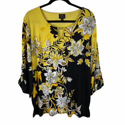 Jm Collection Tunic Top Blouse Size Xxl Yellow And Black Floral Print 3/4 Sleeves