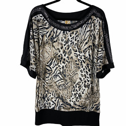Jm Collection Tunic Top Blouse Size Xl Black/beige Print Short Sleeves Studded