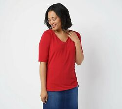 Belle By Kim Gravel Tripleluxe Knit Ruched Side Top Americana Red, 1x A351544