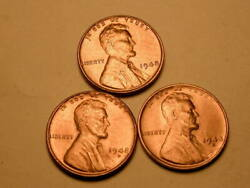 1948 P-d-s Ch/gem Bu Uncirculated Cherry Red Lincoln Cent Set Of 3 Group91