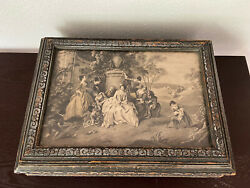 Antique Wood Jewelry Box Neoclassical Picture Framed Top Mirror Ornate Vintage