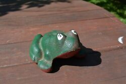 Antique Cast Iron Frog, Green And Red Door Stop Or Paperweight. Heavyweight
