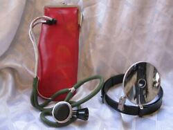 Lot Of Vintage Medical Doctor Surgeon Head Mirror Reflector And Stethoscope In Bag