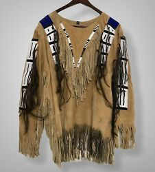 Sioux Style American Native Suede Leather Indian Jacket Fringe And Beads War Shirt