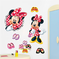 High Heels Minnie Wall Stickers Minnie Mouse Wall Decals Baby Room Home Decor
