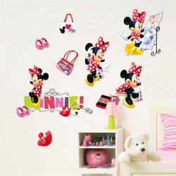 Cute Minnie Wall Stickers Minnie Mouse Wall Decals Baby Room Home Decoration