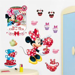 You Are My Cup Of Tea Wall Stickers Cartoon Minnie Wall Decals Baby Room Decor