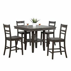Sunset Trading Shades Of Gray 5 Piece Square Pub Table Set With Storage Shelf