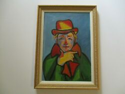 Mid Century Portrait Painting Signed French Modernist Expressionist Mystery Art