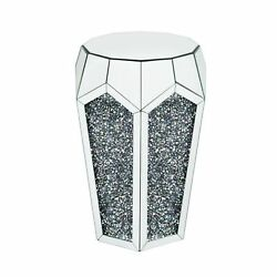 Round End Table With Mirror Panels And Faux Gemstone Accents Silver