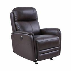 19 Inch Contemporary Recliner Leather Chair With Usb Brown