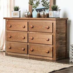 Wooden Rustic Style 6 Drawers Dresser In Mahogany Finish, Brown