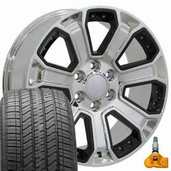 5661 Chrome And Black 22x9 Wheels And 275/55r22 Tires Set Fits 2019+ Gmc And Chevy