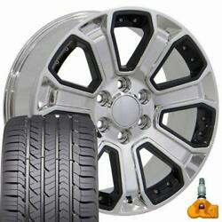 5661 Chrome And Black 22x9 Wheels And Goodyear Tires Set Fits 2019+ Gmc And Chevy