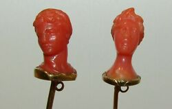 Rare Antique Georgian 18ct Gold Classic Male And Female Busts Coral 3d Stick Pins