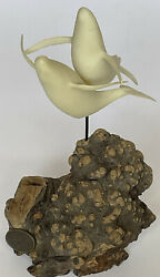 """Vtg John Perry Signed Two Whale Sculpture Figurine On Burl Wood Base 7.5""""x4.5"""""""