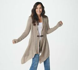 Denim And Co. Cable Knit Long-sleeve Cardi W/ Buckle Mocha Heather, 3x A367955