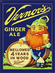 Vernors Ginger Ale Mellowed 4 Years In Wood 9 X 12 Metal Sign