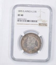 Xf40 1895 South Africa 2 1/2 Shillings - Graded Ngc 1322
