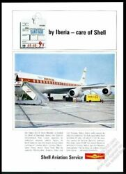 1966 Iberia Airlines Dc-8 Plane Santiago Chile Airport Photo Shell Oil Ad