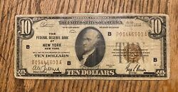 Ten 10 Dollar Bill National Currency Note 1929 New York