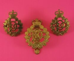 Set Of Royal Canadian Dental Corps Cap And Collar Badges Queen's Crown
