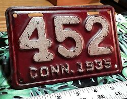 Connecticut - 1935 Motorcycle License Plate, Very Nice Original Paint Low Number