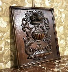 Scroll Leaves Fruit Vase Wood Carving Panel Antique French Architectural Salvage