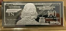 1 Troy Ounce .999 Fine Silver Ben Franklin 100 Note Tn Tennessee State Coa