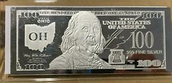 1 Troy Ounce .999 Fine Silver Ben Franklin 100 Note Oh Ohio State Coa