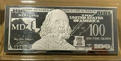 1 Troy Ounce .999 Fine Silver Ben Franklin 100 Note Md Maryland State Coa