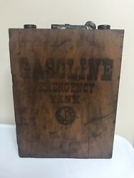 Antique Ford Emergency 1 Gallon Gas Can W/ Wooden Box Model T, Wv And B Metalcraft