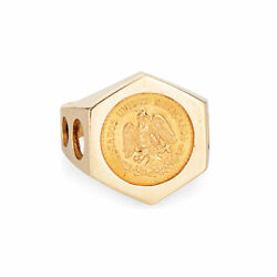Vintage Dos Pesos 1945 Coin Ring 14k Yellow Gold Sz 10 Menand039s Signet Jewelry