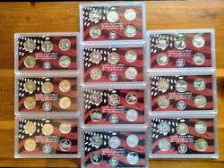 Complete Set Of 50 U.s. State Quarters 1999-2008 90 Silver Proof S Mint
