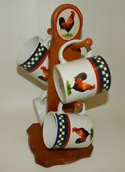 Bob Timberlake Ellaand039s Rooster Set 4 Coffee Cup Mugs And Wooden Tree Holder