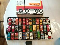 Lot Of 37 Lesney Matchbox Cars And Trucks Plus 3 Car Trays And Case
