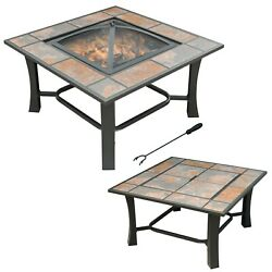 Malaga Convertible Square Tile Top Fire Pit Coffee Table Wood Burning Fire Bowl