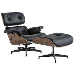 New Classic Rosewood Armchair And Ottoman 100 Genuine Leather Lounge Chair Black