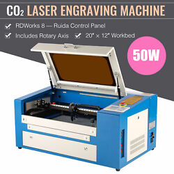 Omtech 20x12 50w Co2 Laser Engraving Cutting Engraver Machine With Rotary Axis