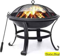 22 Inch Wood Burning Fire Pit Round Outdoor Backyard Patio With Mesh Spark Cover