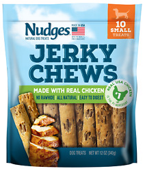 🥇Nudges Jerky Chews Dog Treats with Real Chicken for Small Dogs 12 oz
