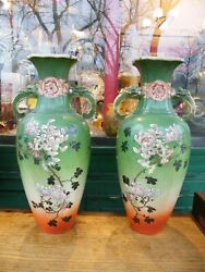 Pair Of Vases China Xix Anddeg Th Century Decor Birds Enamelled Chinese 17 11/16in