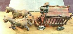 Vintage Cast Iron Overland Circus Two Horse Drawn Wagon Toy W/driver