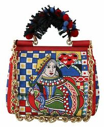 7395 Dolce And Gabbana Carretto-print Queen Of Hearts Purse Satchel Sicily Bag
