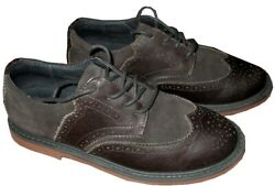Cole Haan Kids Little Boys Brown Oiled Leather And Suede Wingtip Shoes Us 1