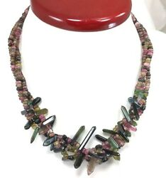 425.24 Ct Natural Colorfully Tourmaline Sterling Silver Necklace Free Gift Box