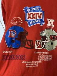 Vintage Super Bowl Xxiv T Shirt 90s 1990 49ers Vs Broncos Made In Usa Sz L Red