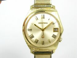 Vintage 1969 14k Solid Yellow Gold Bulova Accutron Date Mens Watch 68g