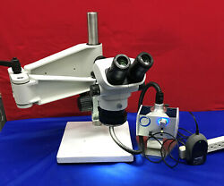 Olympus Sz61 Microscope With Schott Mls Led Stand And Light Mcid 77140