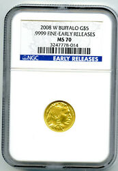 2008 W 5 Gold Buffalo Ngc Ms70 Early Releases 1/10 Oz .9999 Fine ☆ Rare ☆